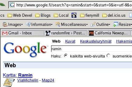 Google map option on google.fi