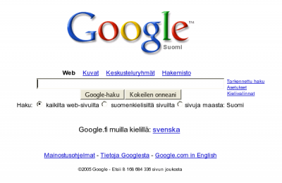 Google.fi frontpage